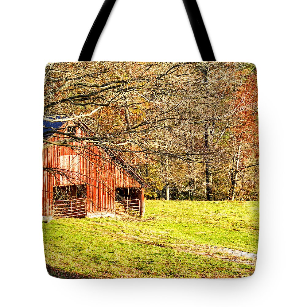 Barns Tote Bag featuring the photograph Red Barn In Late Fall by Duane McCullough