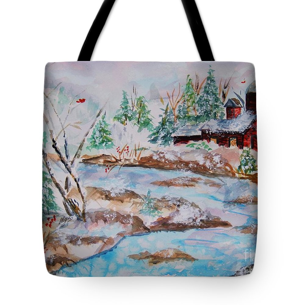 Red Barn Tote Bag featuring the painting Red Barn In Winter by Ellen Levinson