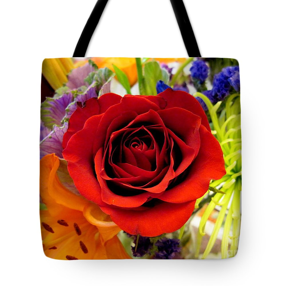 Rose Tote Bag featuring the photograph Red Beauty by Nancie DeMellia