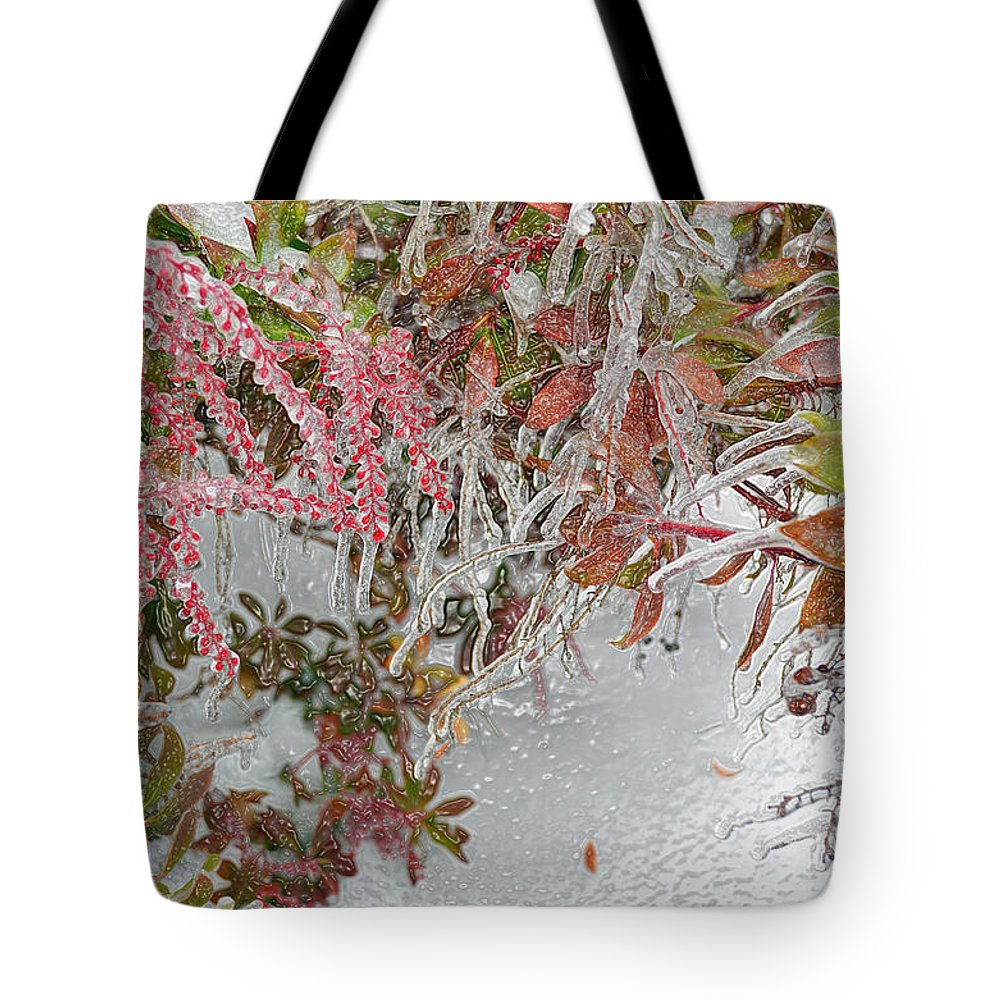 Nature Tote Bag featuring the digital art Red Berries Over Snow by Eva Kaufman