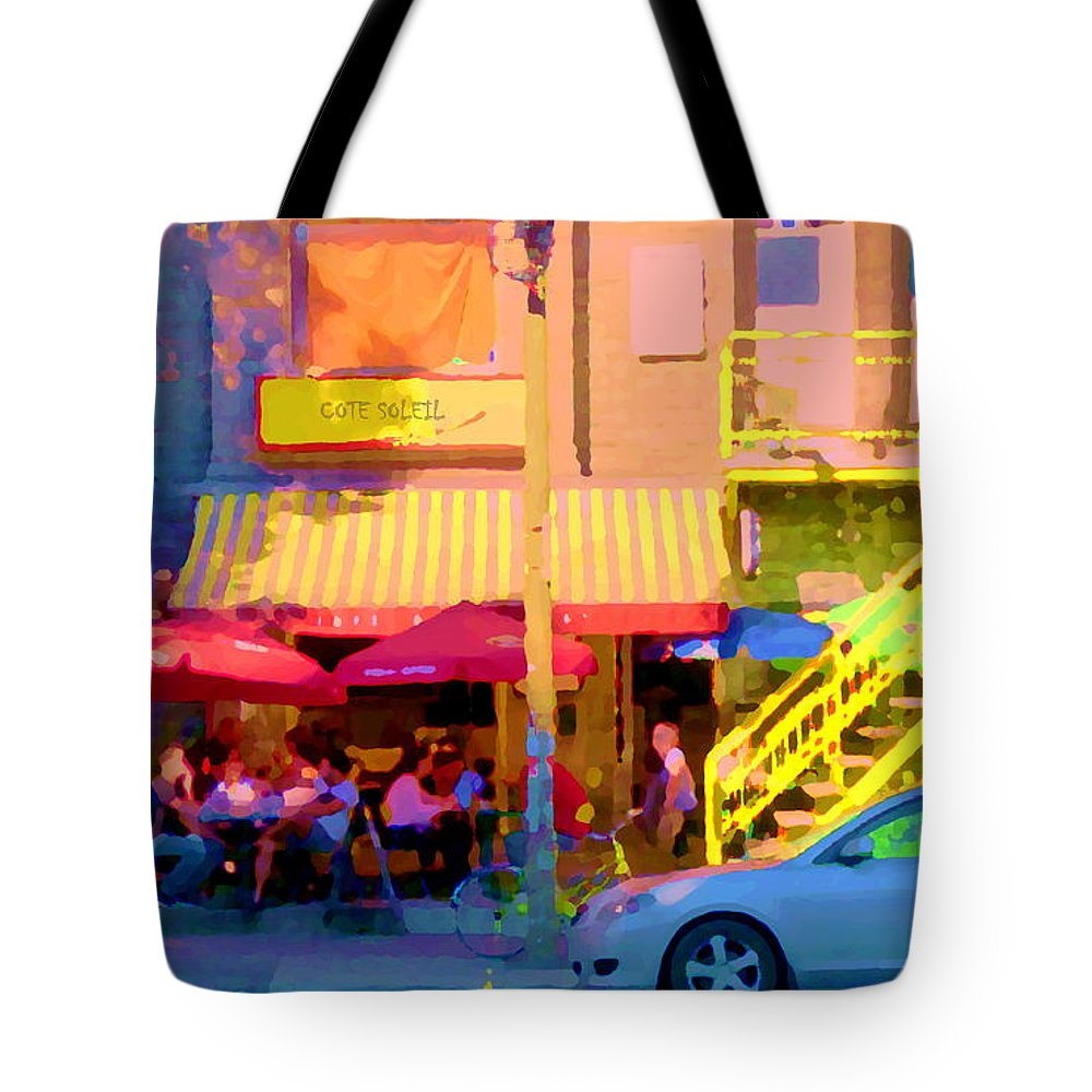 Montreal Tote Bag featuring the painting Red Bistro Umbrellas Cafe Cote Soleil Rue St Denis Yellow Staircase Montreal Scenes Carole Spandau by Carole Spandau