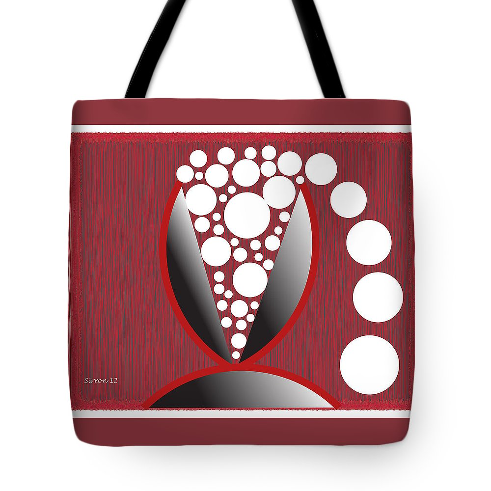 Wine Glass Tote Bag featuring the digital art Red Black White Expressions Sparkling Wine by Sirron Kyles