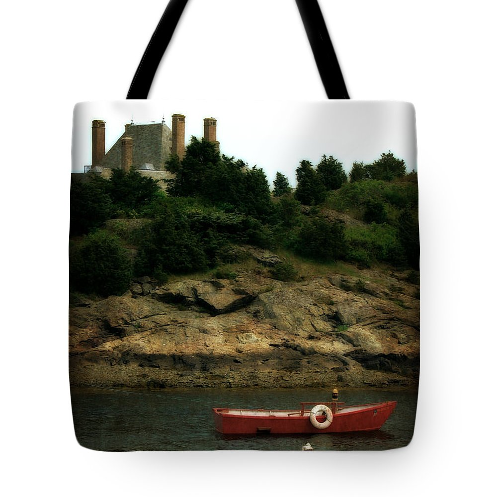 Life Saver Tote Bag featuring the photograph Red Boat In Newport by Michelle Calkins