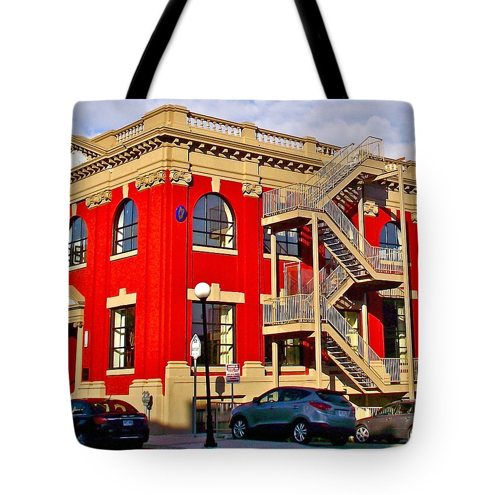 Red Building On Water Street In Saint John's Tote Bag featuring the photograph Red Building On Water Street In Saint John's-nl by Ruth Hager