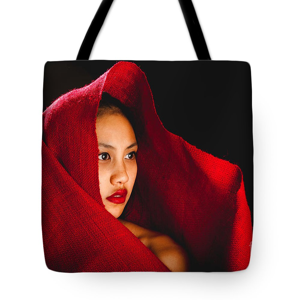 Red Burlap Tote Bag featuring the photograph Red Burlap by Scott Sawyer