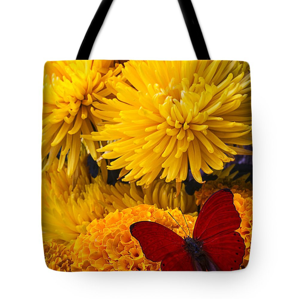 Red Butterfly Tote Bag featuring the photograph Red Butterfly On African Marigold by Garry Gay