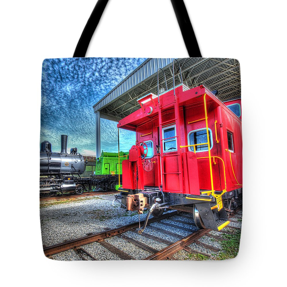 Historic Tote Bag featuring the photograph Red Caboose by Greg Hager