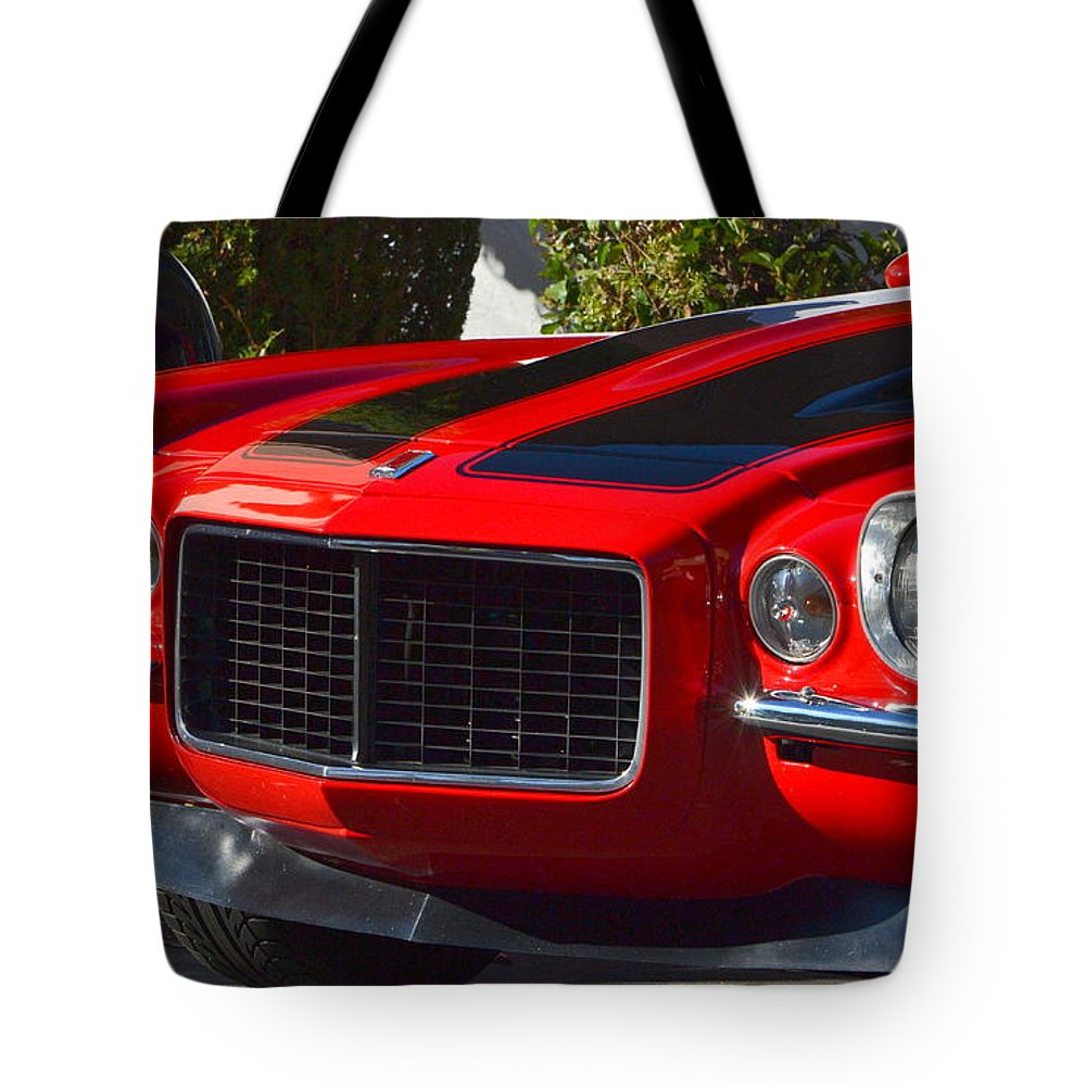 Tote Bag featuring the photograph Red Camaro by Dean Ferreira