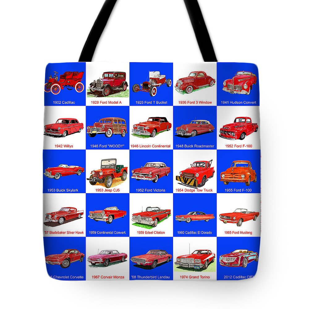 American Car Art By Jack Pumphrey Tote Bag featuring the painting Art Of Red American Cars by Jack Pumphrey
