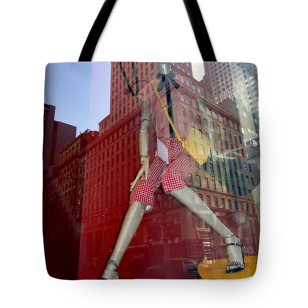 Mannequins Tote Bag featuring the photograph Red Cheque Reflections by Ed Weidman