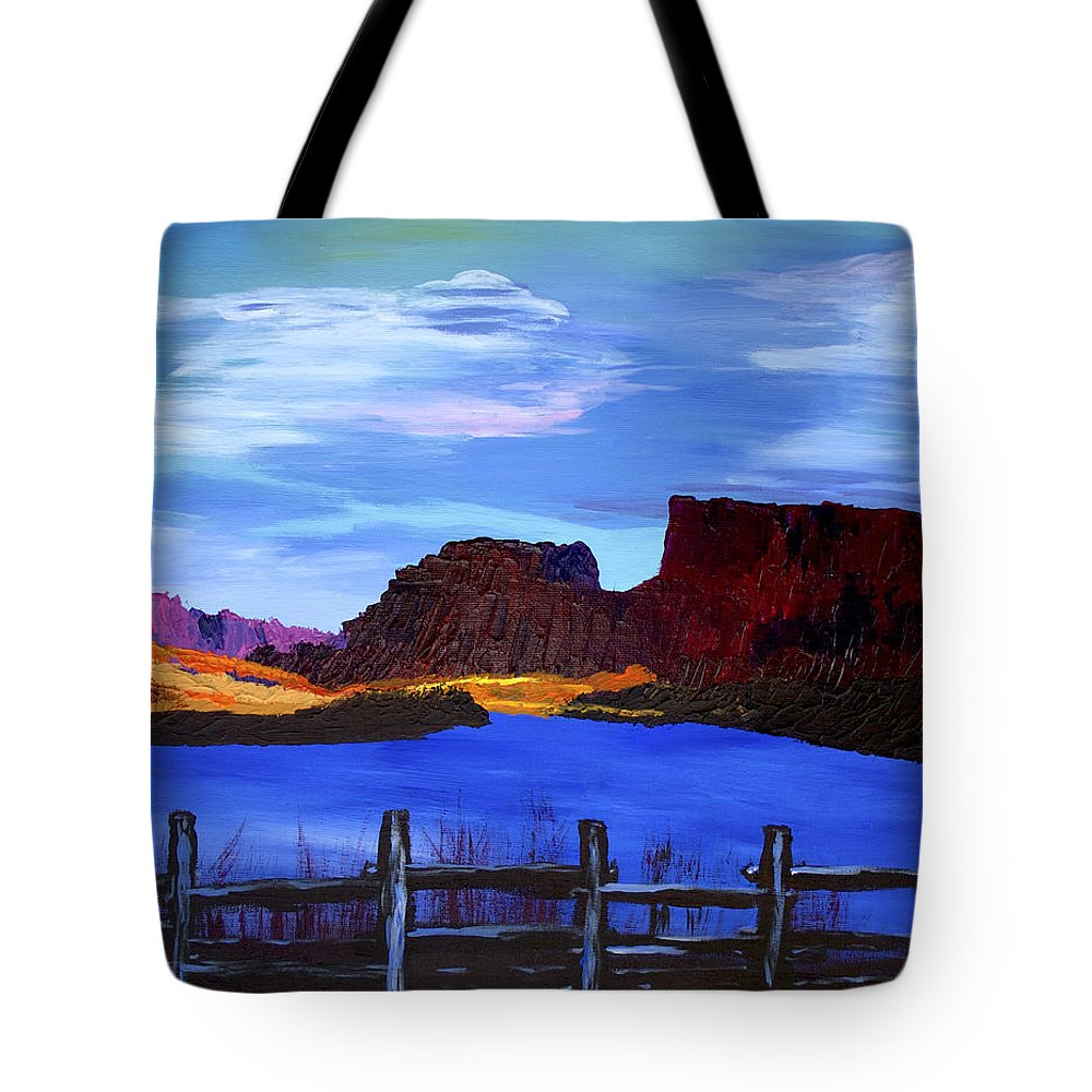 Colorado Tote Bag featuring the painting Red Cliffs On The Colorado by Bob Coyle
