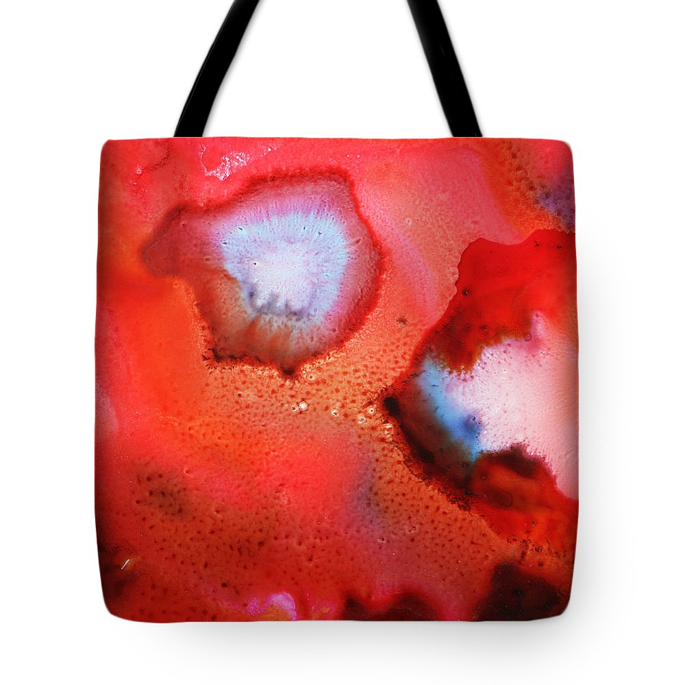 Red Tote Bag featuring the painting Red Cosmos by Nancy Merkle