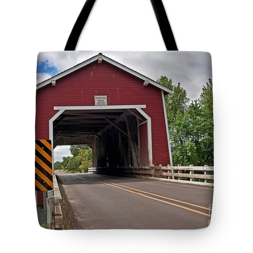 Covered Bridge Tote Bag featuring the photograph Red Covered Bridge Shimanek Art Prints by Valerie Garner