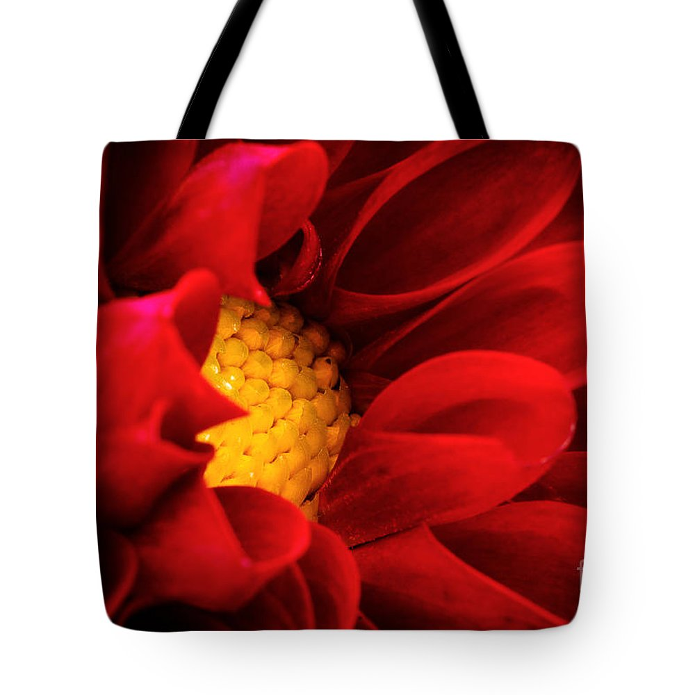 Bloom Tote Bag featuring the photograph Red Dahlia by Joe Mamer