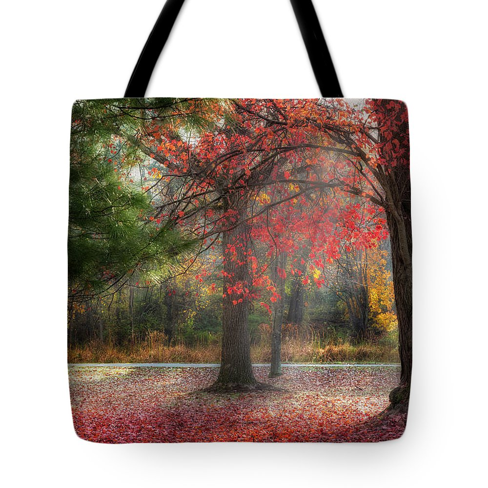 Fog Tote Bag featuring the photograph Red Dawn by Bill Wakeley