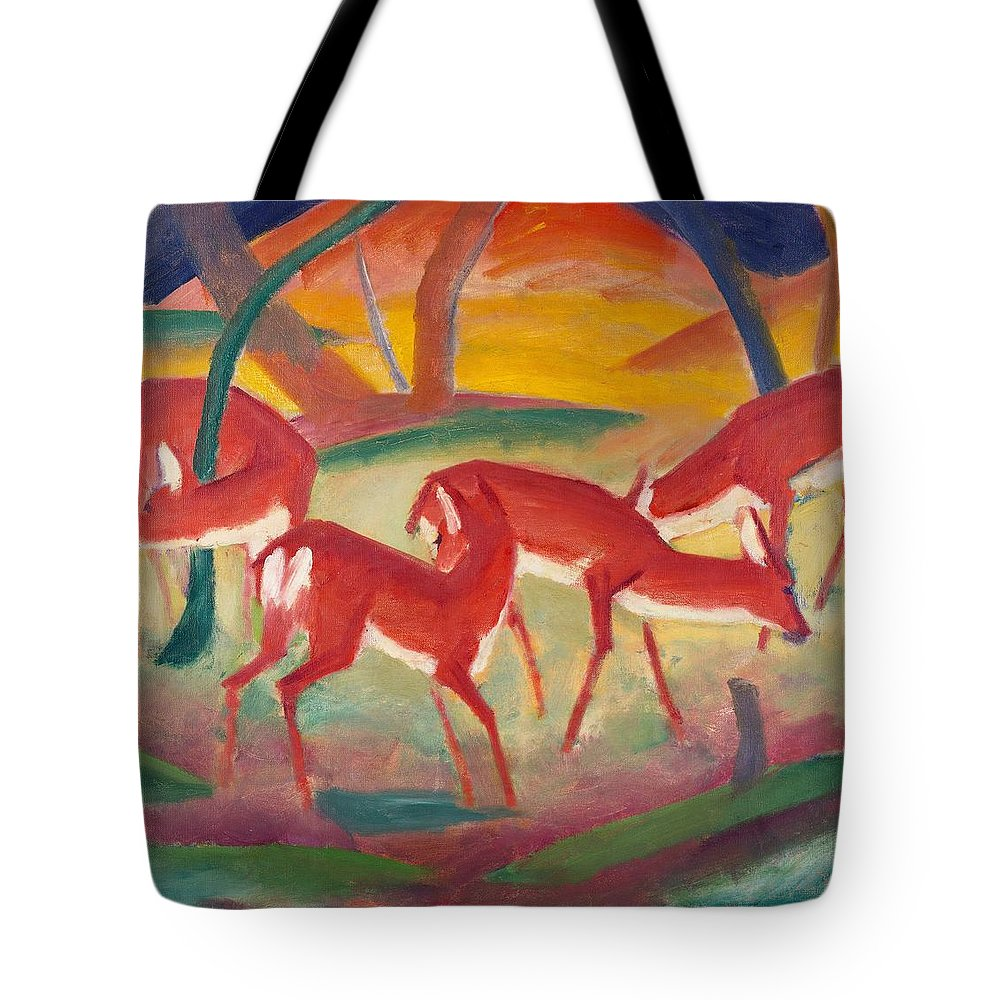 Blaue Reiter; Expressionist; German Expressionist; Red; Deer; Animal; Animals; Herd; Grazing; Landscape; Rural; Countryside; Nature; Wildlife; Sunset; Setting Sun; Calm; Peaceful; Tranquil; Atmospheric; Stylised Tote Bag featuring the painting Red Deer 1 by Franz Marc