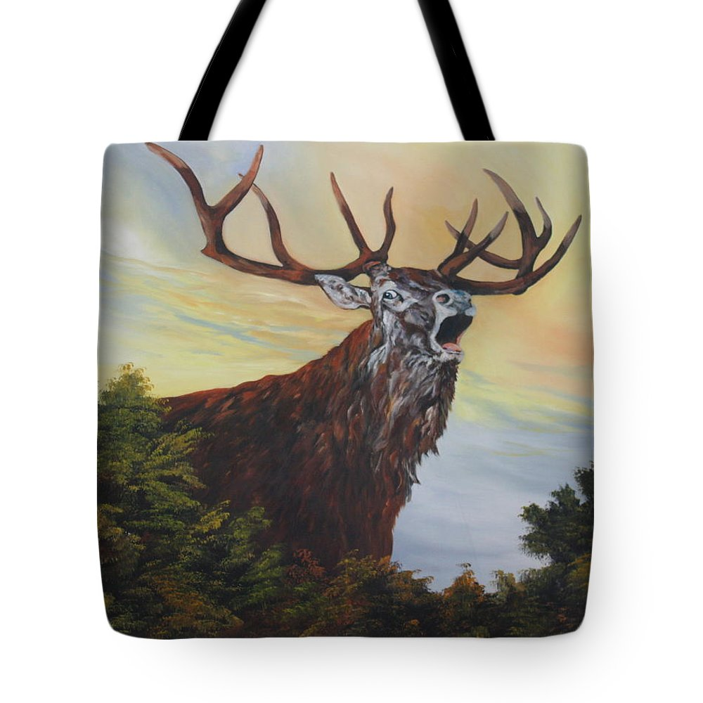 Red Stag Tote Bag featuring the painting Red Deer - Stag by Jean Walker