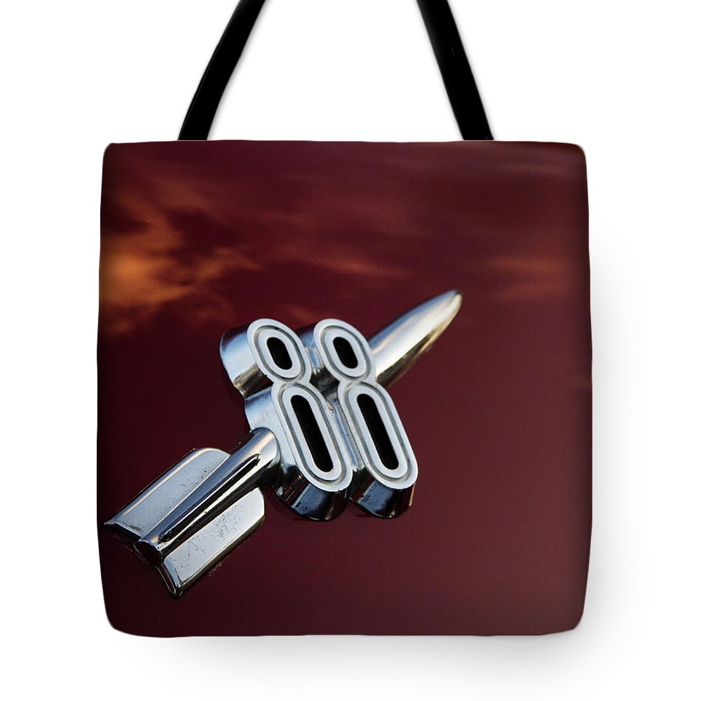 Hot Rod Tote Bag featuring the photograph Red Delta 88 Rocket by Guy Shultz