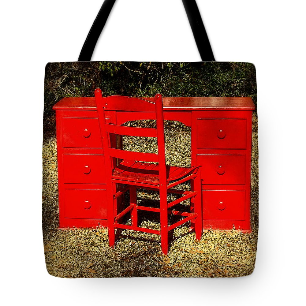 Fine Art Tote Bag featuring the photograph Red Desk And Chair by Rodney Lee Williams
