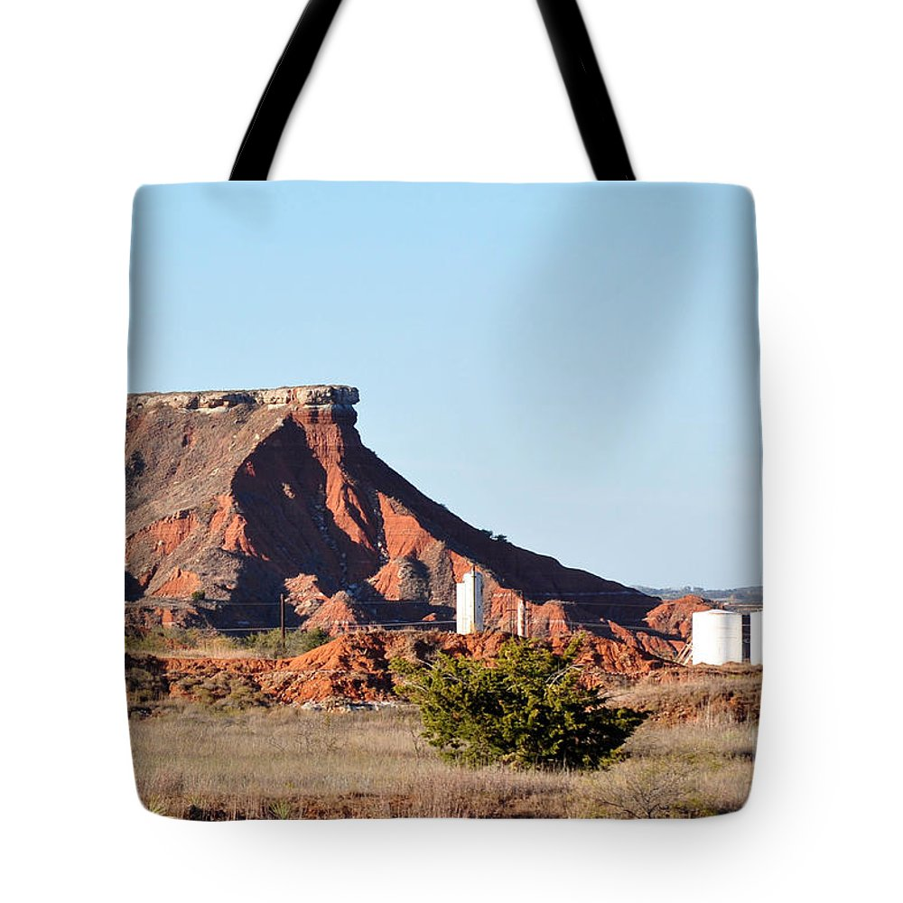Red Dirt Tote Bag featuring the photograph Red Dirt And Oil And Gas by Anjanette Douglas