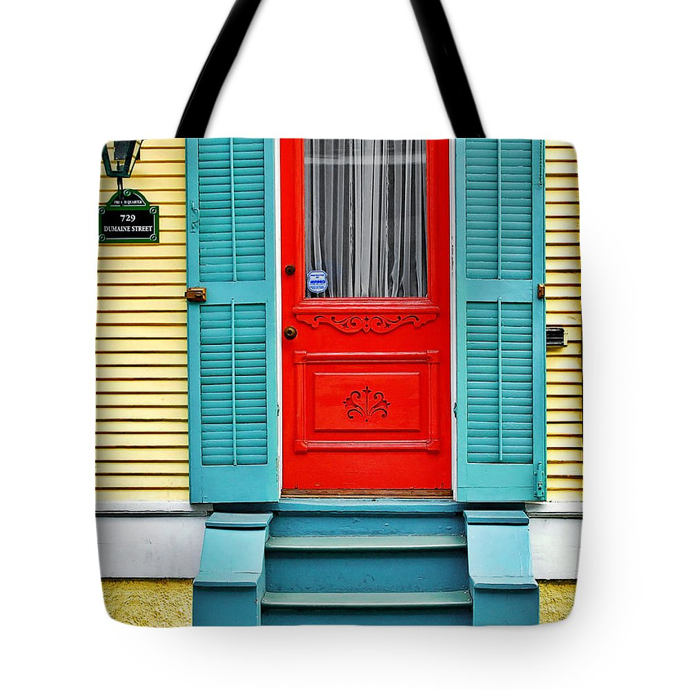 Front Tote Bag featuring the photograph Red Door In New Orleans by Christine Till