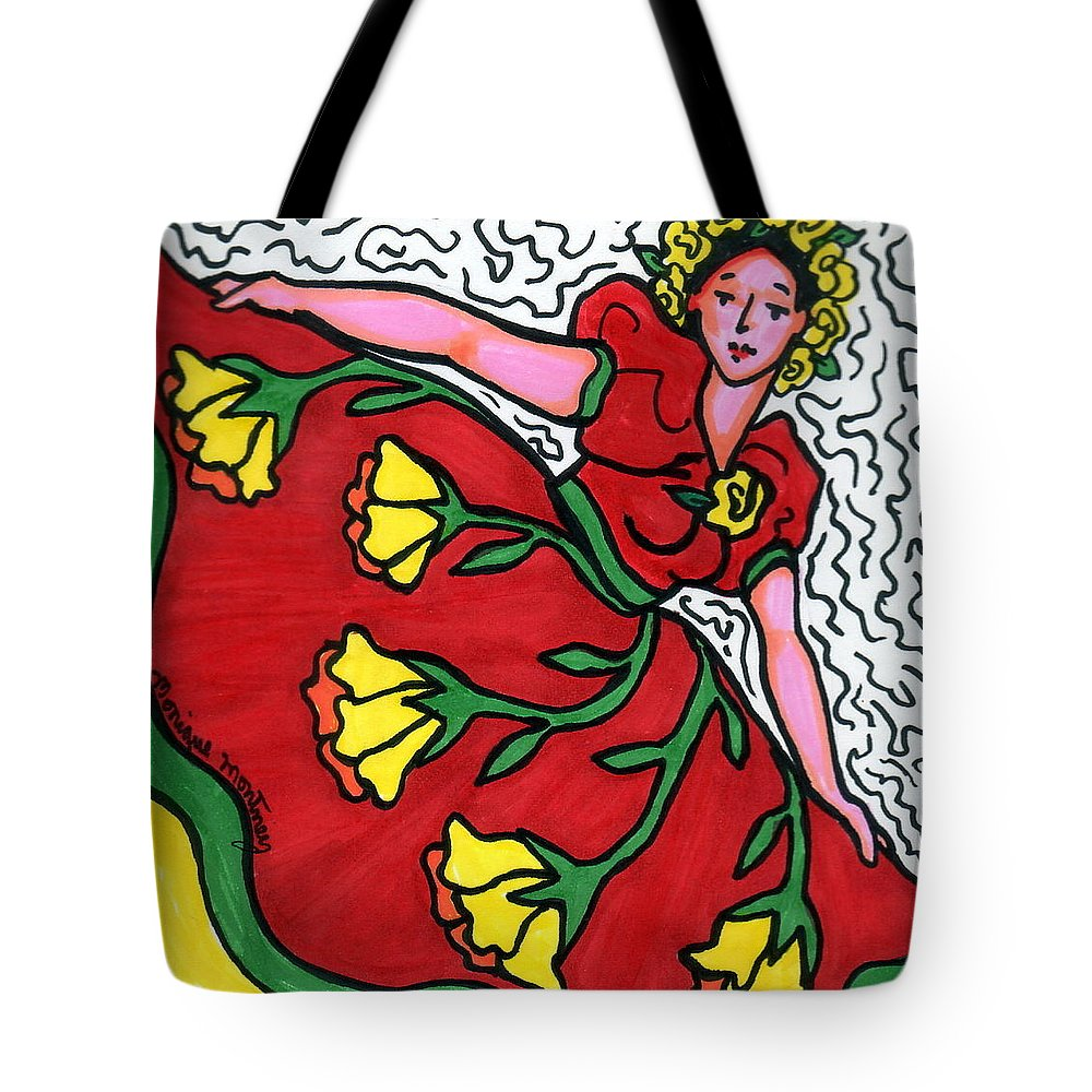 Dancer Tote Bag featuring the painting Red Dress With Yellow Roses by Monique Montney