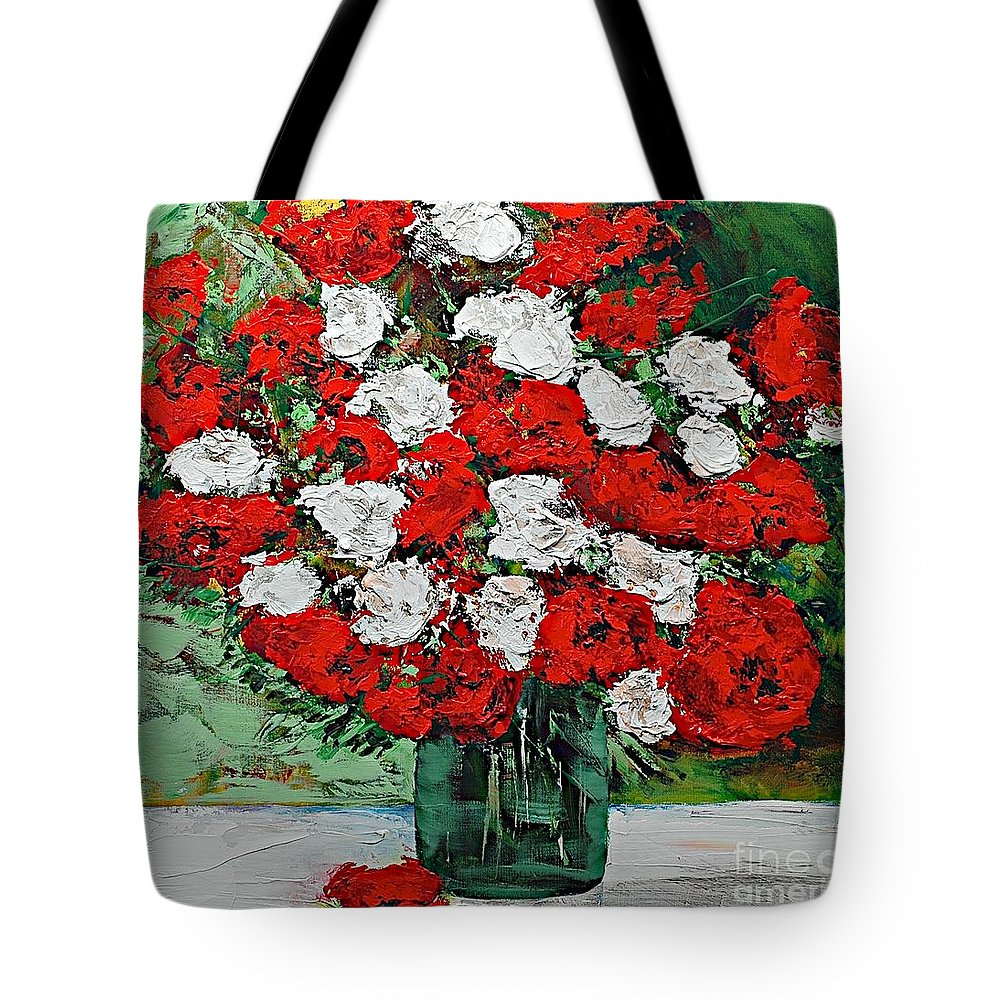 Landscape Tote Bag featuring the painting Red Explosion by Allan P Friedlander