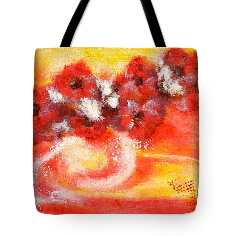 Flower Tote Bag featuring the painting Red Flower Bouquet by Martin Capek