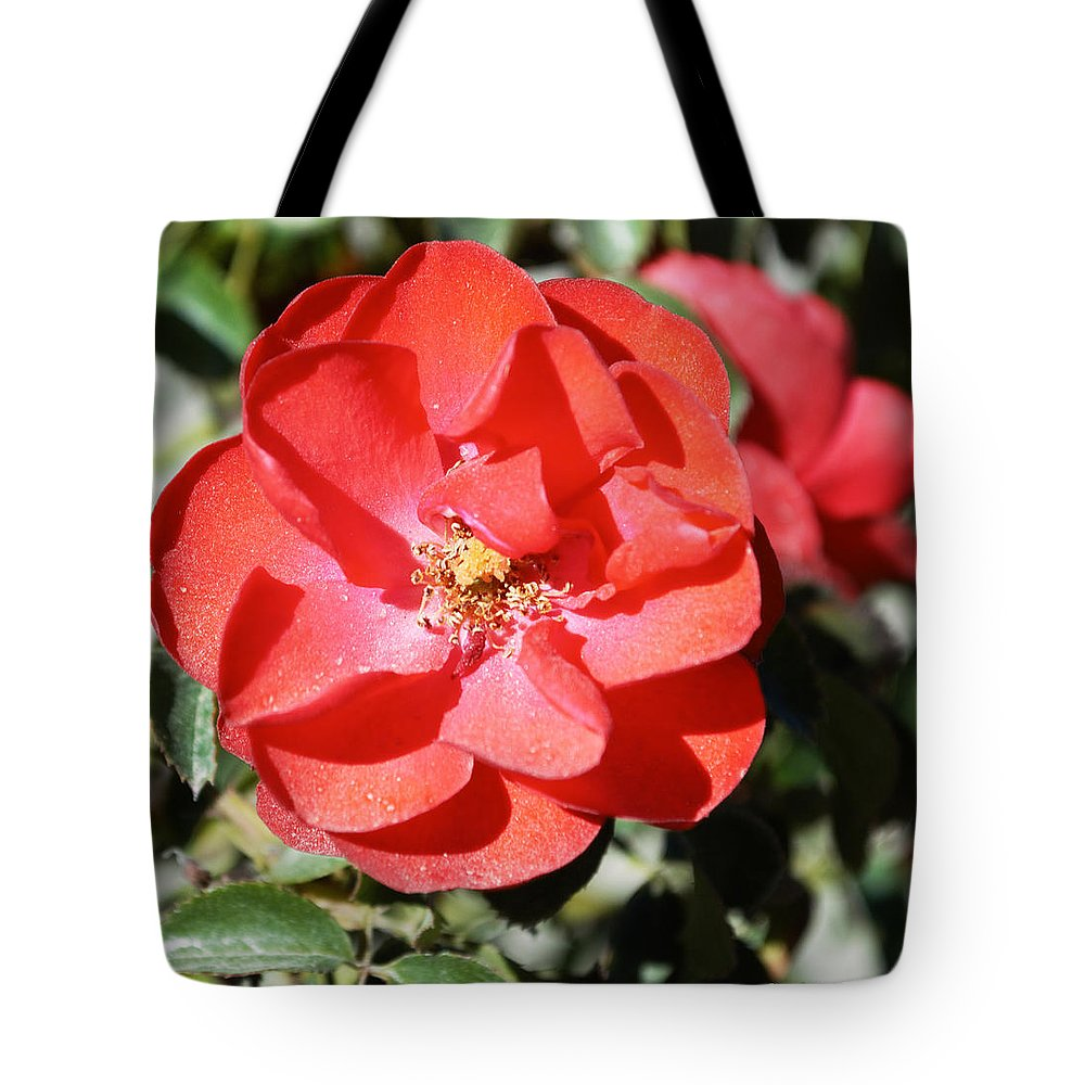 Barbara Snyder Tote Bag featuring the digital art Red Flower I by Barbara Snyder