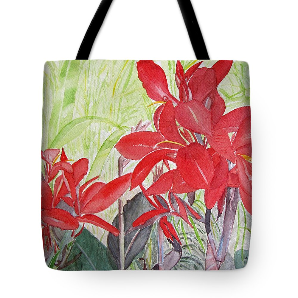 Flowers Tote Bag featuring the painting Red Flowers by Carol Flagg