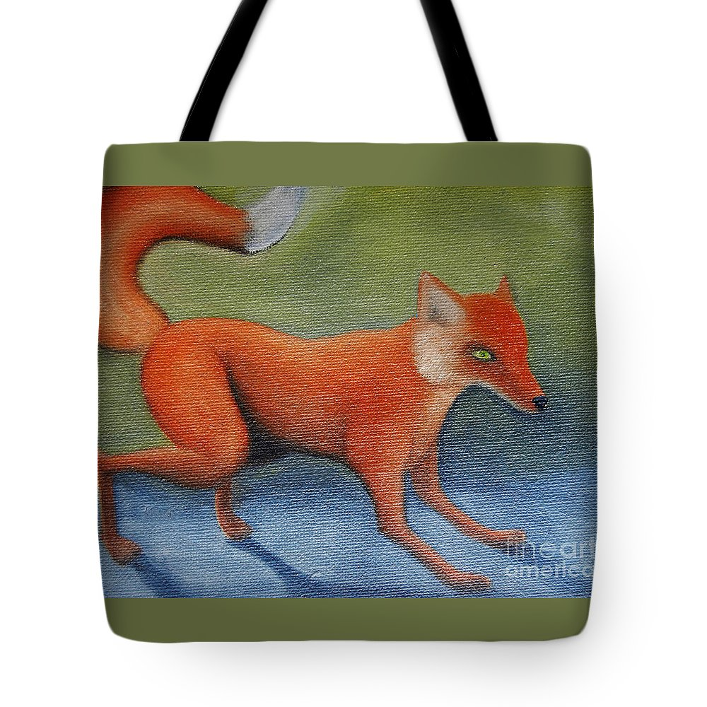 Foxes Tote Bag featuring the painting Red Fox by Reb Frost
