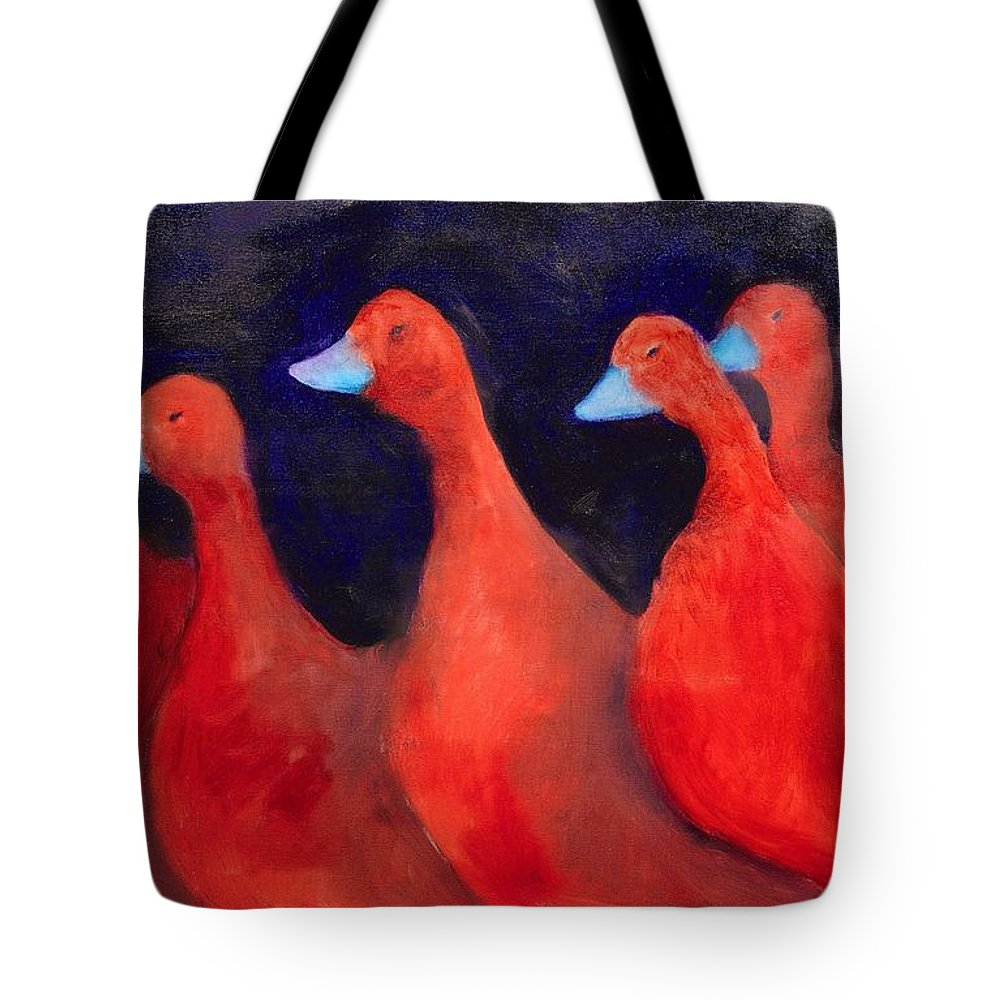 Abstract Tote Bag featuring the painting The March by Zodiak Paredes