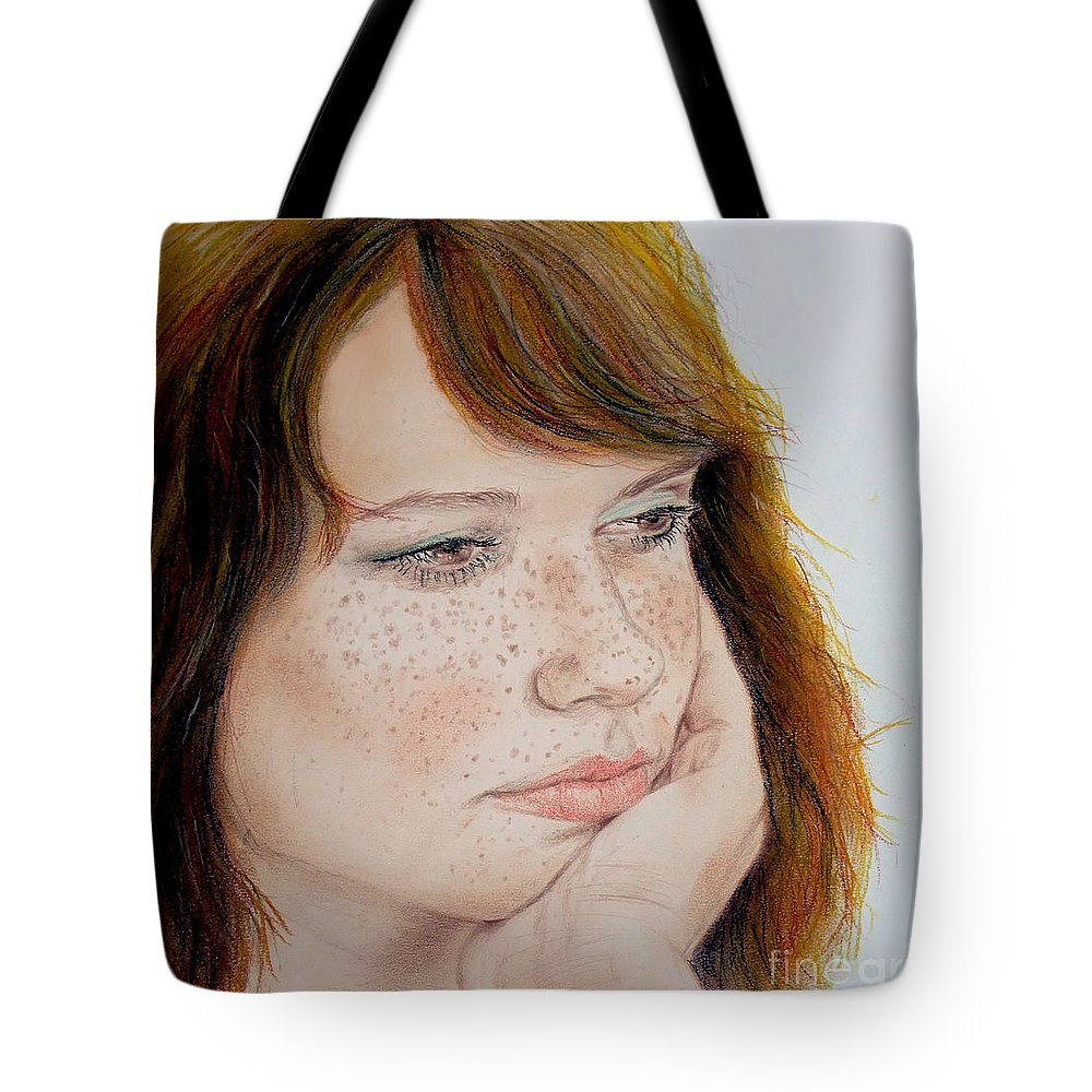 Red Hair Tote Bag featuring the drawing Red Hair And Freckled IIi by Jim Fitzpatrick