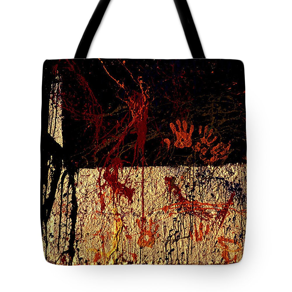 Graffiti Tote Bag featuring the photograph Red Hands by Paul W Faust - Impressions of Light