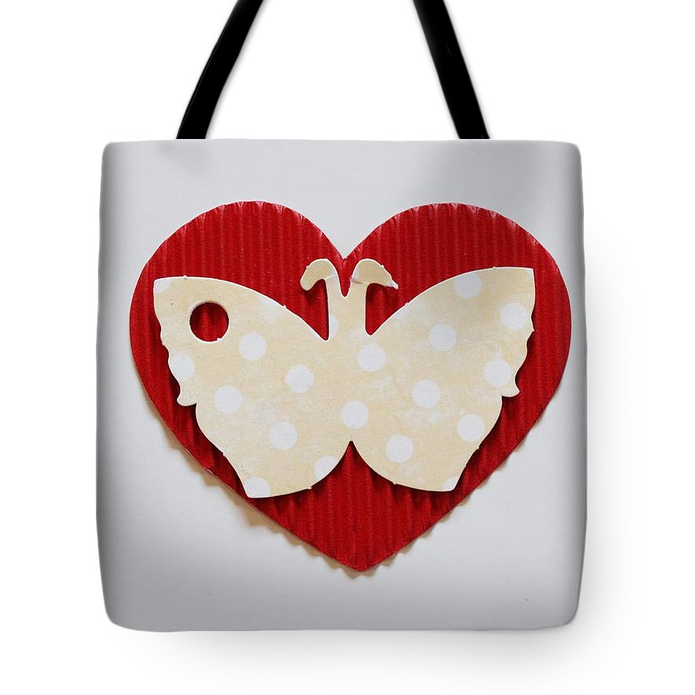 Red Heart With Butterfly Tote Bag featuring the photograph Red Heart With Butterfly by Annie Adkins