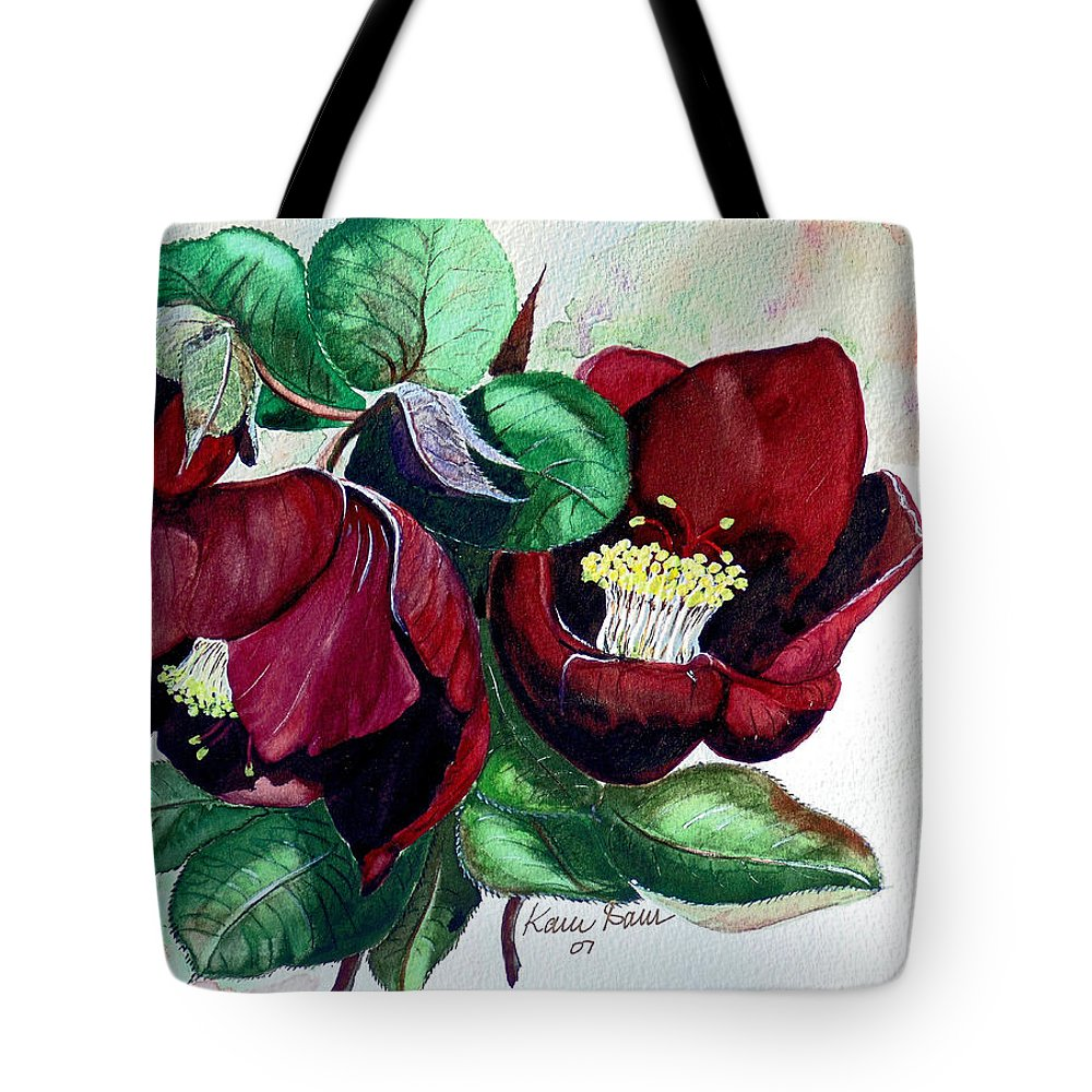Red Helleborous Painting Flower Painting  Botanical Painting Watercolor Painting Original Painting Floral Painting Flower Painting Red Painting  Greeting Painting Tote Bag featuring the painting Red Helleborous by Karin Dawn Kelshall- Best