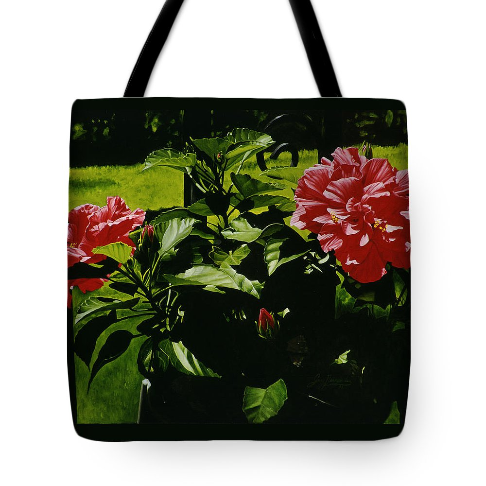 Floral Tote Bag featuring the painting Red Hibiscus by Gary Hernandez