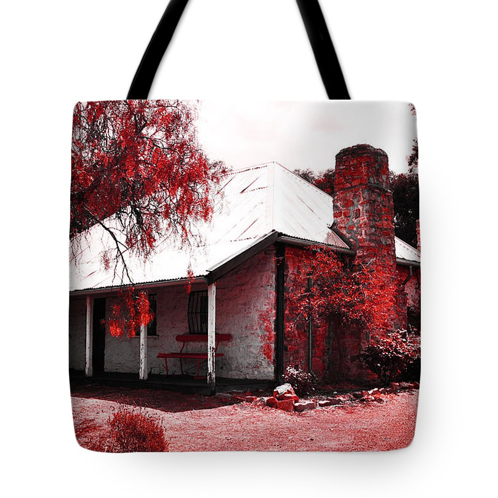 Hdr Tote Bag featuring the photograph Red Homestead Garden by Phill Petrovic