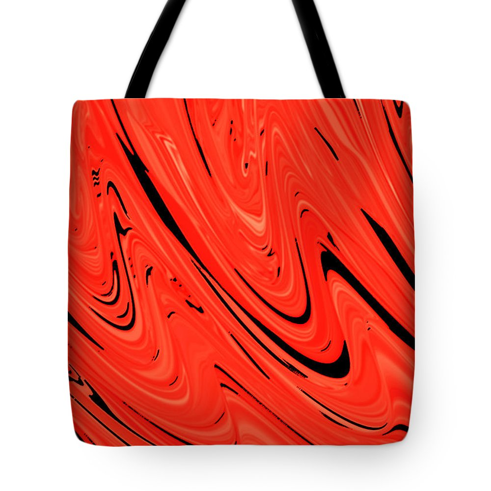 Red Tote Bag featuring the digital art Red Hot Lava Flowing Down by Minding My Visions by Adri and Ray