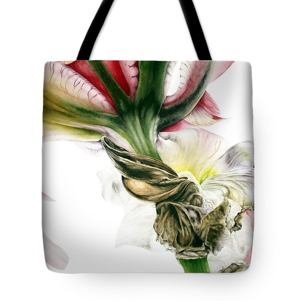 Red Iris Tote Bag featuring the painting Red Iris by Marie Burke