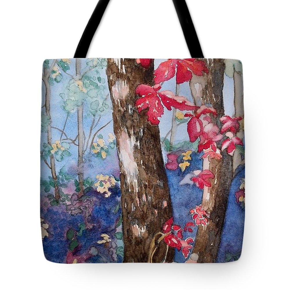 Red Leaves Tote Bag featuring the painting Red Leaves by Lise PICHE