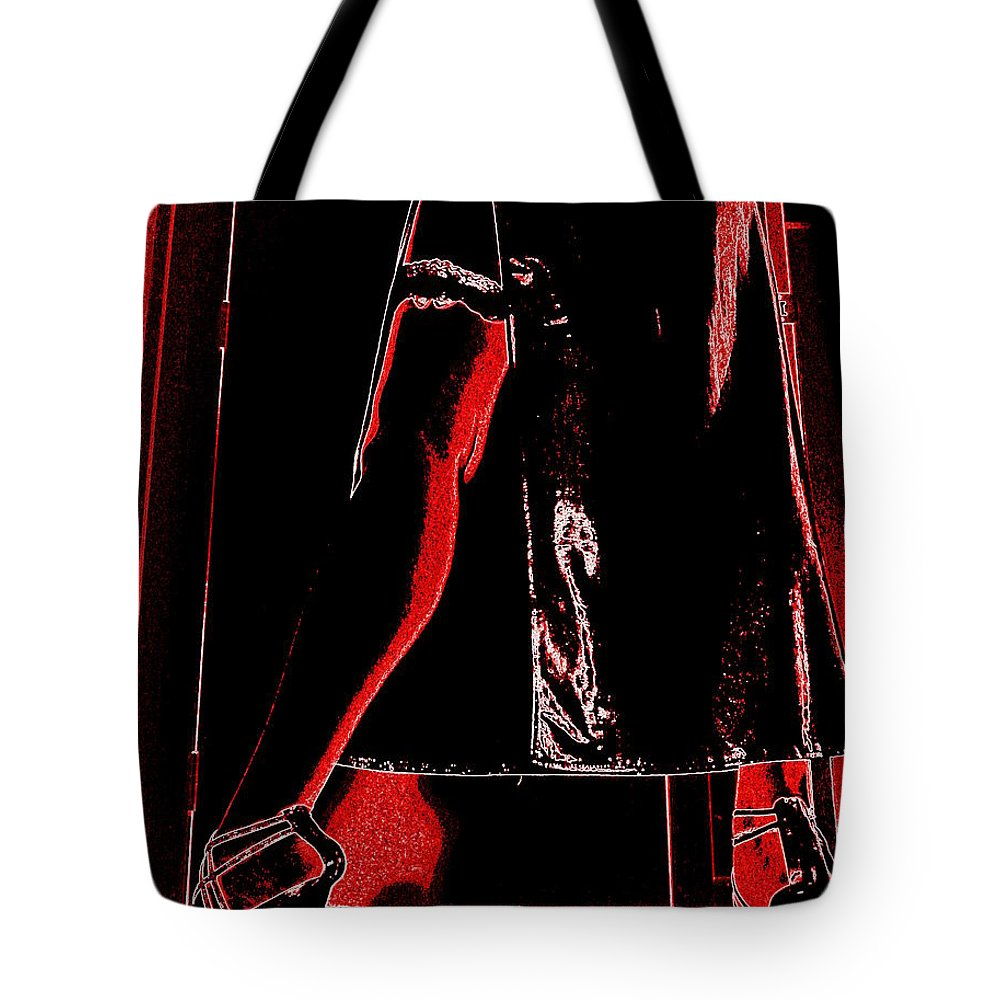 Leg Garter Stiletto Strappy Foot Babe Sexy Hot Hooker Pvc Leather Latex Heels Feet Tote Bag featuring the photograph Red Light Black Dress by Guy Pettingell