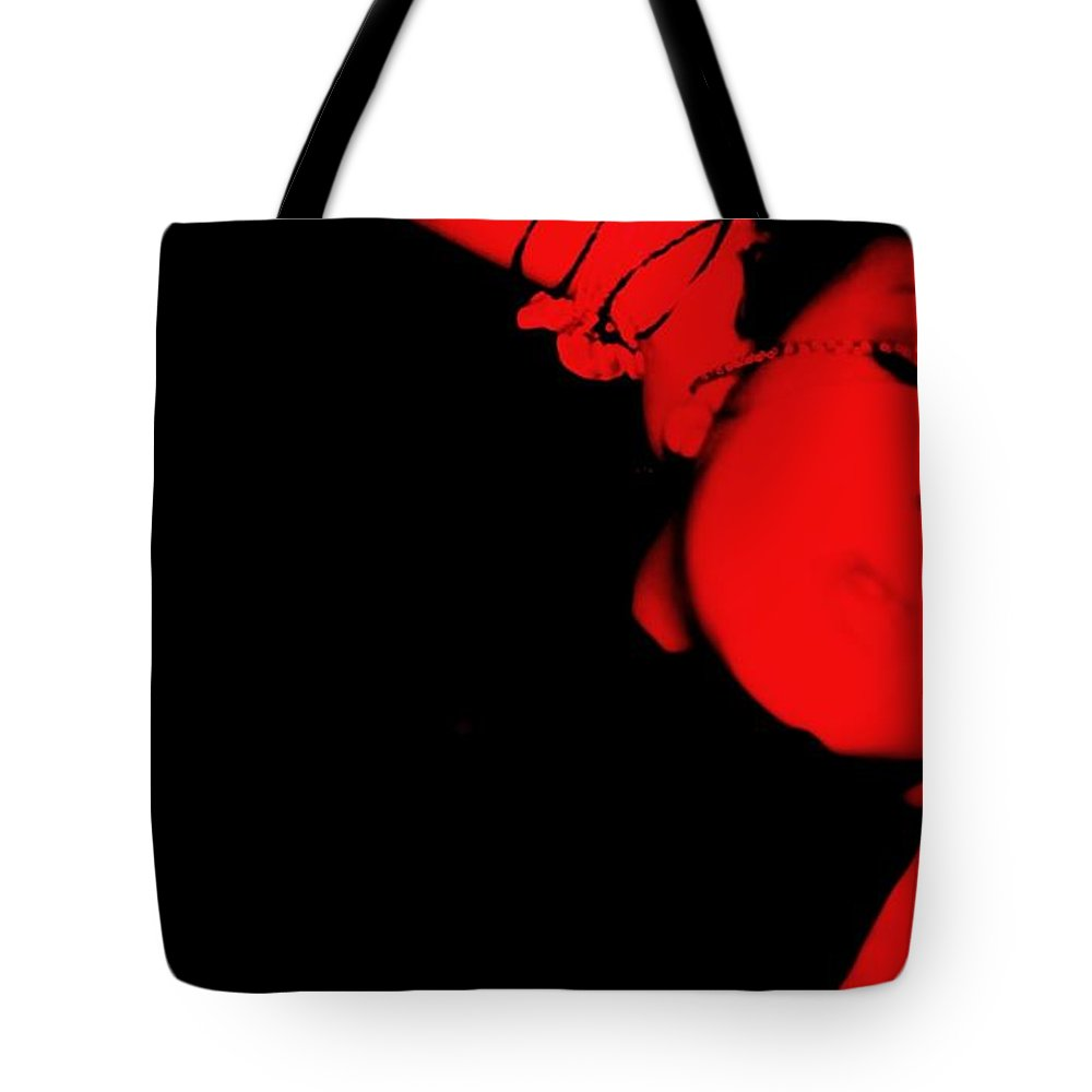 Red Tote Bag featuring the photograph Red Light Special by Jessica Shelton