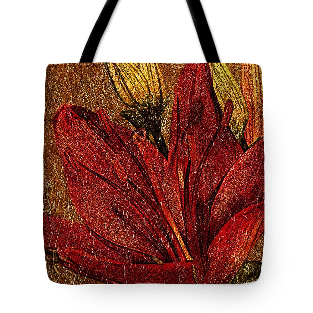 Flower Tote Bag featuring the photograph Red Lily Gold Leaf by Phyllis Denton