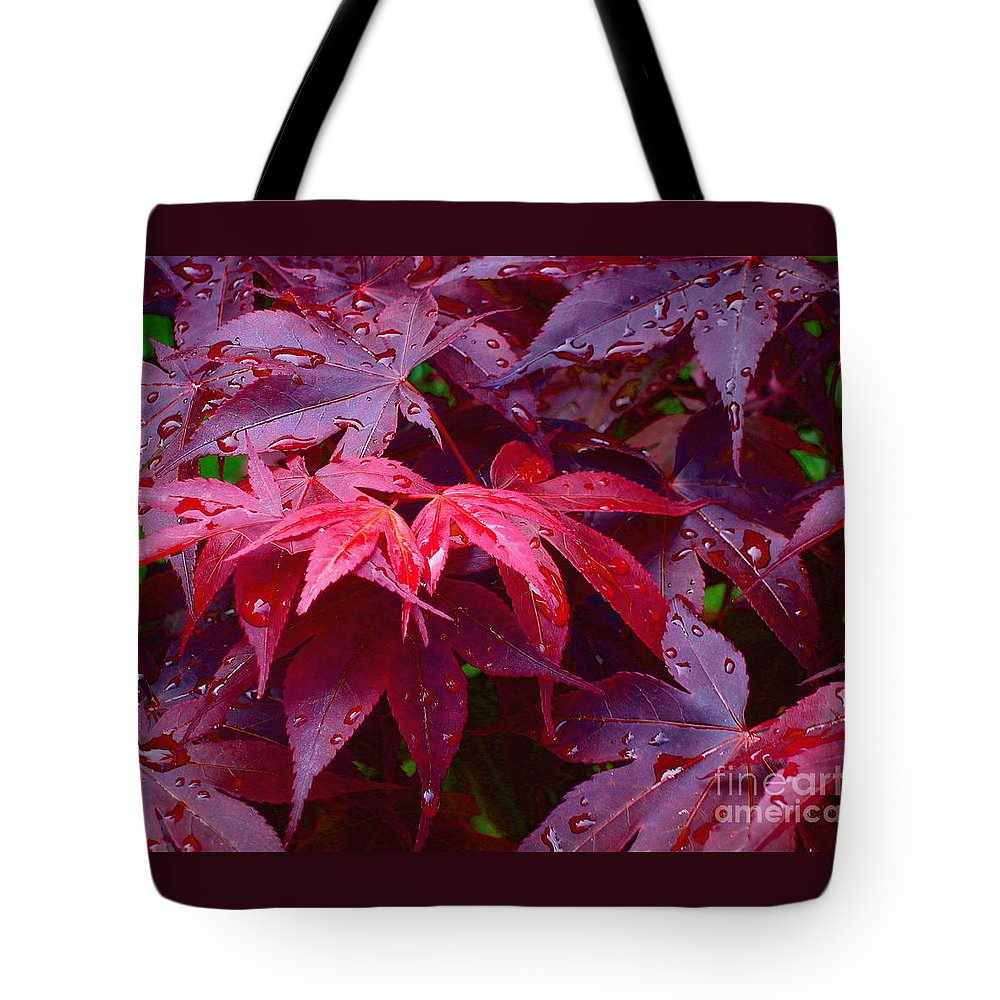 Rain Tote Bag featuring the photograph Red Maple After Rain by Ann Horn