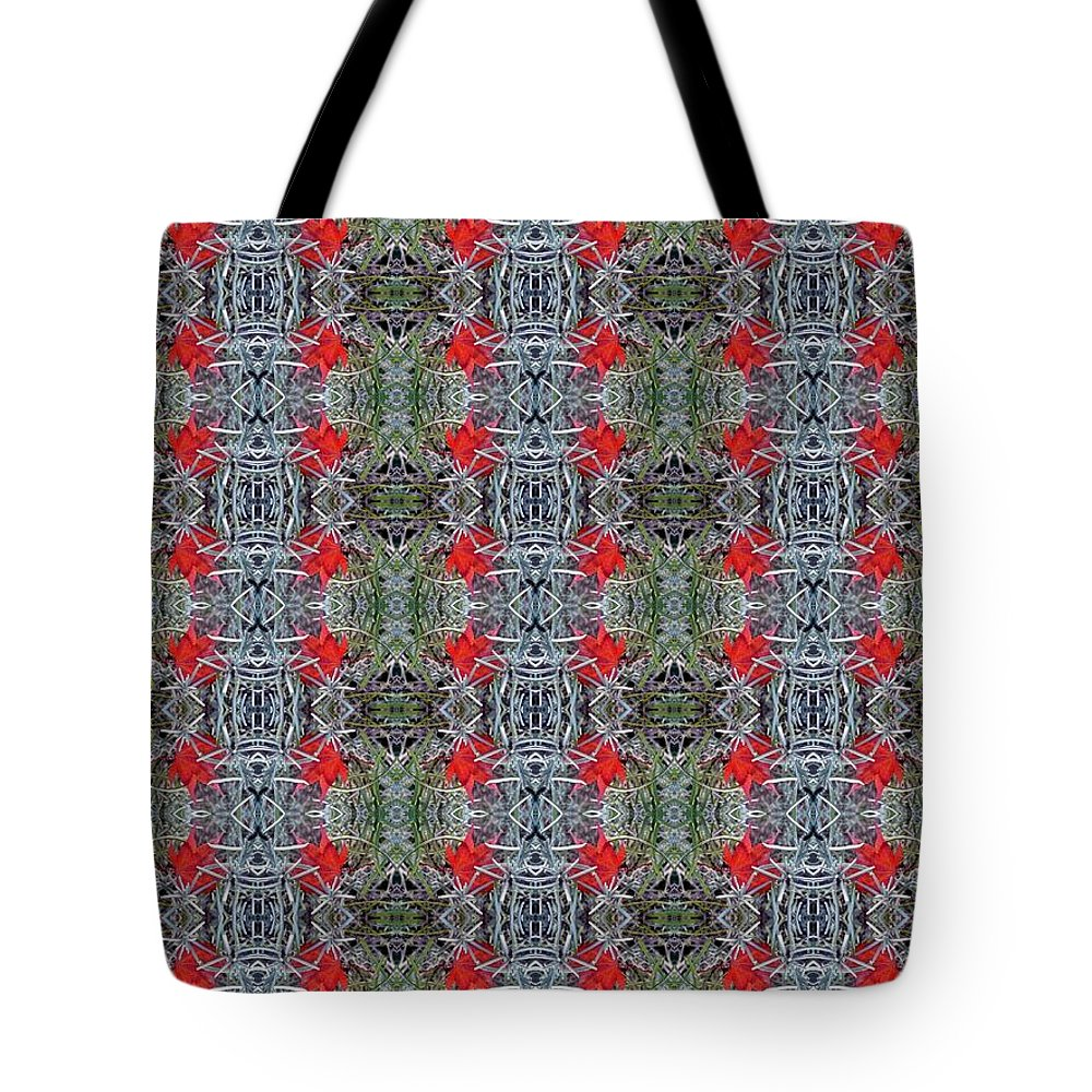 Art Tote Bag featuring the photograph Red Maple Leaf Pattern by Nicki Bennett