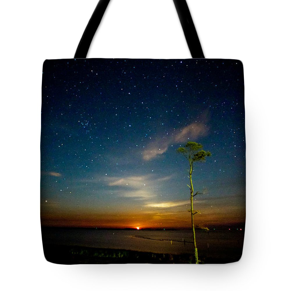 Red Tote Bag featuring the photograph Red Moon Rising by Paula OMalley