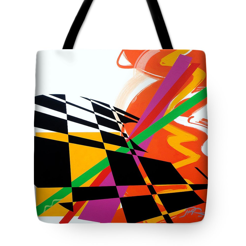 Abstract Tote Bag featuring the painting Red Movement by Jean Pierre Rousselet