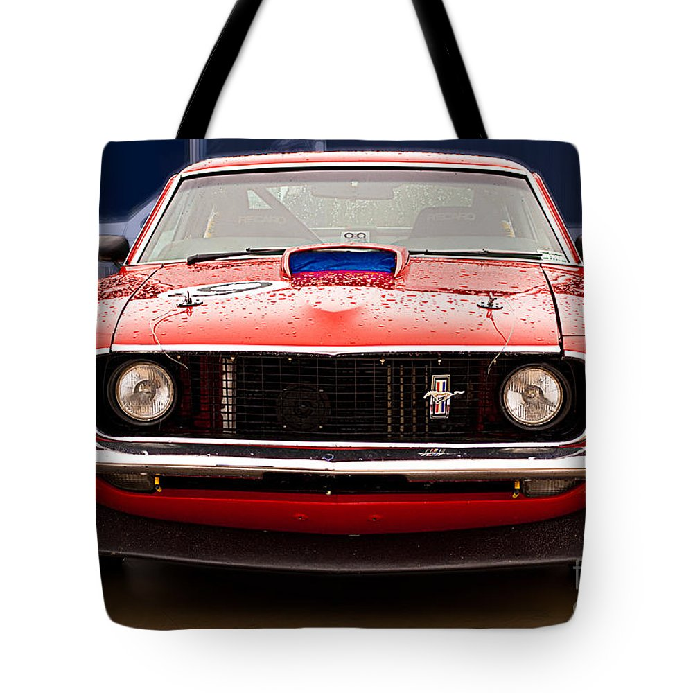 Ford Tote Bag featuring the photograph Red Mustang by Stuart Row