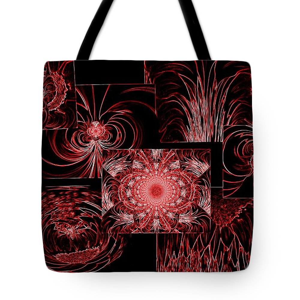 Red Tote Bag featuring the photograph Red Neon Collage by Barbara Griffin
